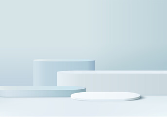 Fototapeta 3d display product abstract minimal scene with geometric podium platform. cylinder background vector 3d rendering with podium. stand for cosmetic products. Stage showcase on pedestal 3d blue studio obraz