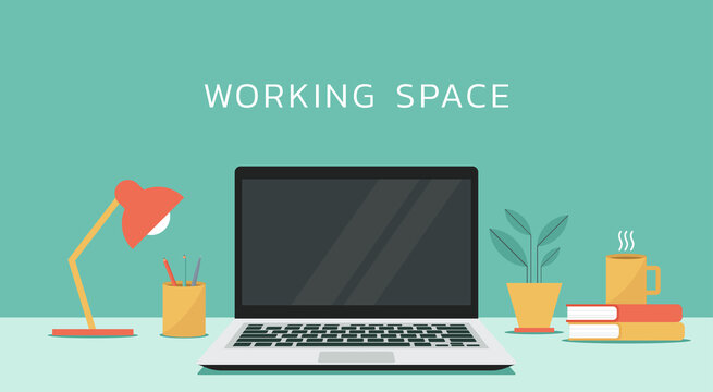 laptop computer with blank empty display screen for copy space on working space, vector flat design illustration