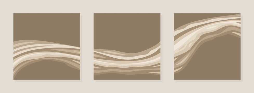 Set of three square abstract paintings. Light beige, dark brown lines, waves, curls. Combined composition of wall paintings, covers, social media posts. Simple style, minimalism. Vector illustration.