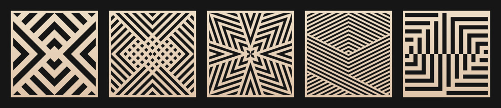 Laser cut patterns set. Vector collection of square cutting templates with abstract geometric ornament, lines, stripes. Decorative stencil for laser cut of wood, metal, plastic. Aspect ratio 1:1
