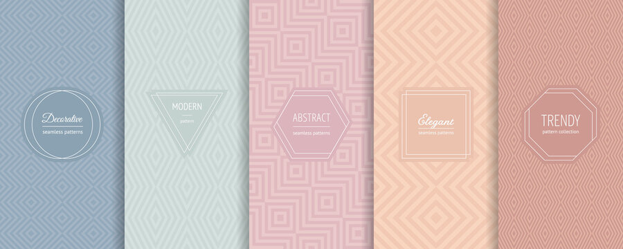 Geometric line seamless patterns. Vector set of linear backgrounds with elegant minimal labels, stickers. Abstract modern ornament textures. Trendy nude pastel colors. Design for print, decor, package