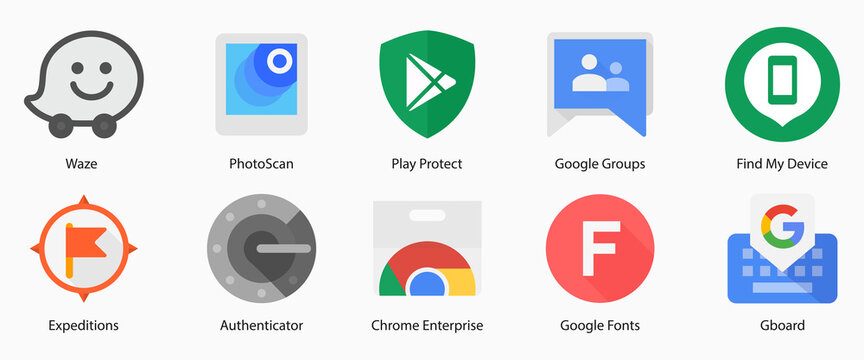 Google LLC. Apps from Google. Waze Local, PhotoScan, Play Protect, Groups, Find My Device, Expeditions, Authenticator, Chrome Enterprise, Fonts, Gboard. Kyiv, Ukraine - March 14, 2021