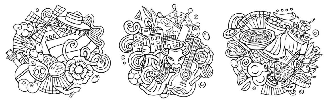 Spain cartoon vector doodle designs set.