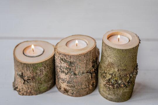 raw natural ash tree wood log slice  tea light candle holder vase house home zero waste decoration