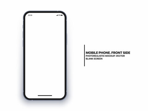 Photo Realistic Mobile Phone IPhone Vector Mockup With Blank Screen Isolated On White Background. Photorealistic Smartphone IPhone 12 Template Concept For App UI UX Graphic Design Presentation