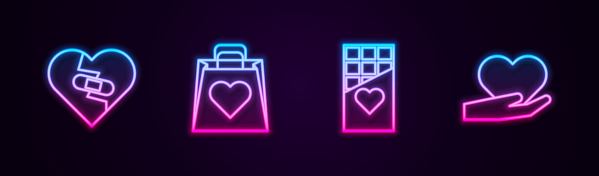Set line Healed broken heart, Shopping bag with, Chocolate bar and Heart hand. Glowing neon icon. Vector