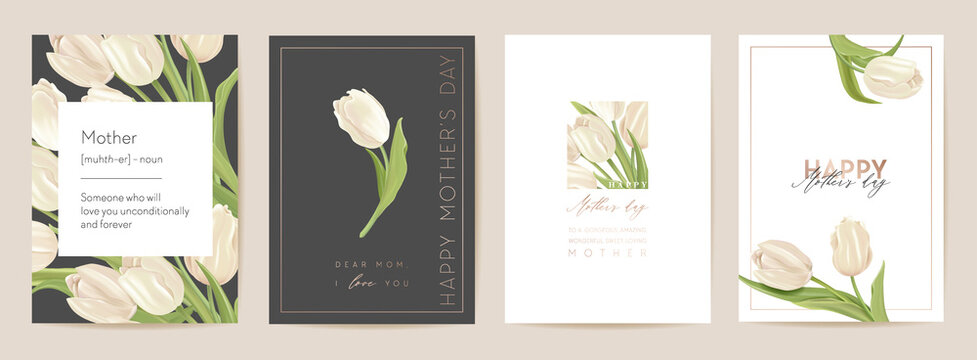 Happy Mother day floral postcard. Spring bouquet vector illustration. Greeting realistic tulip flowers template