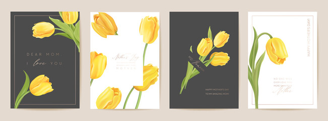 Obraz Mother day floral spring postcard. Greeting realistic tulip flowers template, modern flower background - fototapety do salonu
