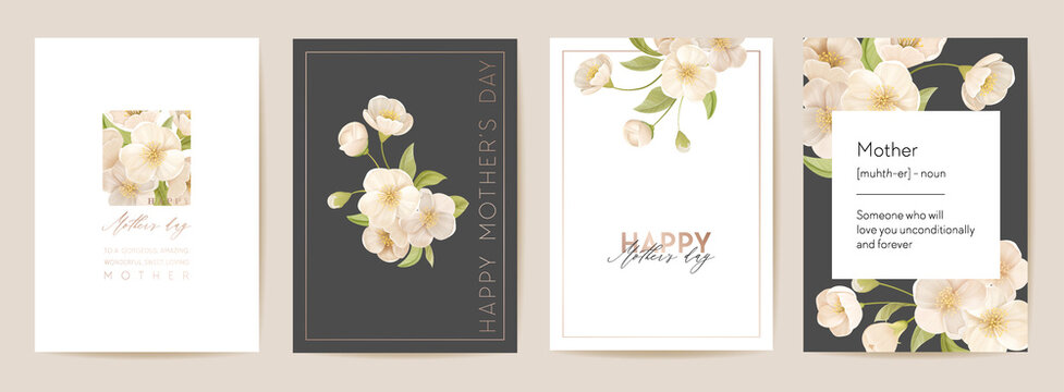 Mother day floral postcard. Mom and child modern card. Spring bouquet vector illustration