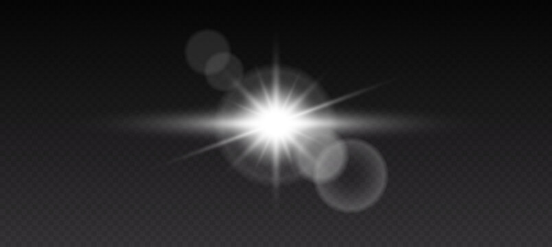 Realistic lens flare elements on black background, collection. Light effect design