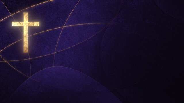 Golden Christian Cross on liturgic violet purple copy space banner background. 3D illustration concept for online worship church sermon in Advent and Lent symbolizing penance sacrifice and mourning