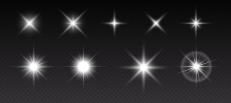 Sparkling stars, flickering and flashing lights. Collection of different light effects