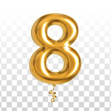 Vector realistic isolated golden balloon number of 8 for invitation decoration on the transparent background.