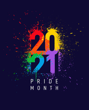 LGBTQ Pride month banner with typography text 2021 on abstract modern sharp colorful splash ink rainbow background design. Vector illustration Isolated on blue background.
