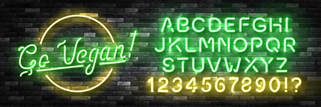 Vector realistic isolated neon sign of Go Vegan with easy to change color font alphabet for decoration and covering on the wall background. Concept of vegetarian cafe and eco product.
