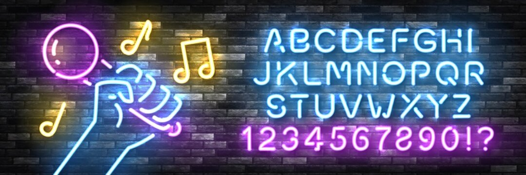 Vector realistic isolated neon sign of Karaoke with easy to change color font alphabet for template decoration and invitation covering on the wall background. Concept of karaoke, night club and music.