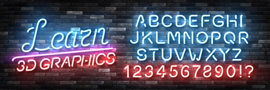 Vector realistic isolated neon sign of Learn 3D graphics logo with easy to change color font alphabet for decoration and covering on the wall background.