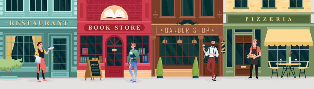 City shopping, retro street store buildings and workers, chef waiter student characters