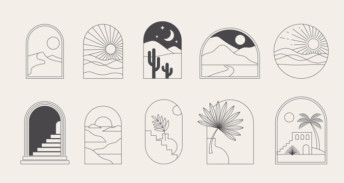 Bohemian linear logos, icons and symbols, landscape, arcs and windows design templates, geometric abstract design elements for decoration.