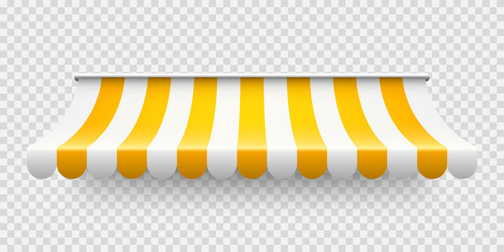 Yellow shop sunshade on transparent background. Realistic striped cafe awning. Outdoor market tent. Roof canopy. Summer street store. Vector illustration.