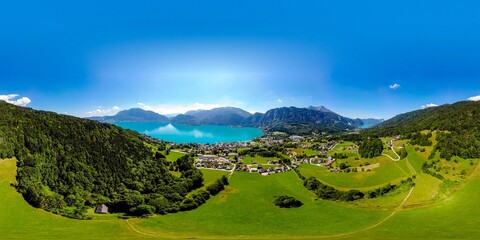 Beautiful amazing countryside panorama 360 view on Attersee, Mondsee lake (Moonlake, moon) im Salzkammergut, alps mountains, Schafberg mountain in from Unterach. Upper Austria, nearby Salzburg.