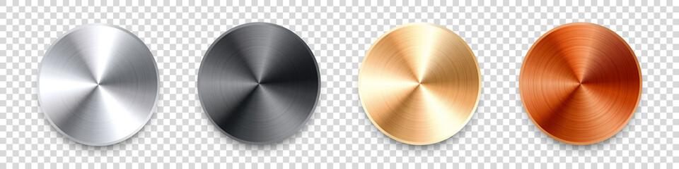 Obraz Realistic metal chrome button. Silver steel volume control knob. Application interface design element. App icon. Vector illustration. - fototapety do salonu