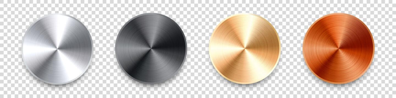 Realistic metal chrome button. Silver steel volume control knob. Application interface design element. App icon. Vector illustration.