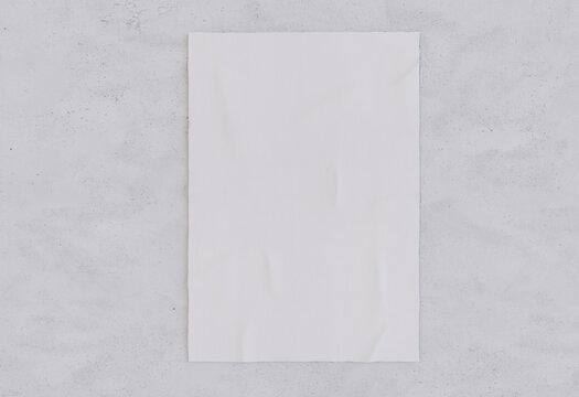 3D Illustration. Wrinkled paper poster mockup.