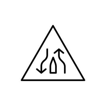 single lane ahead sign icon, isolated on white background