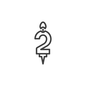 Number 2 candle line icon. linear style sign