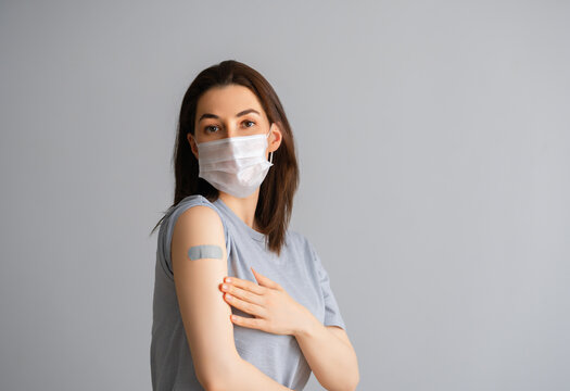 Young woman after vaccination