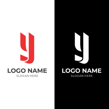 letter Y logo vector with flat red and white color style