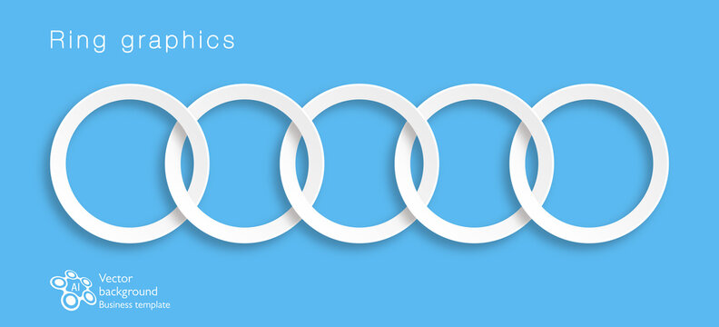 5 connected rings. Design element. Vector graphics.