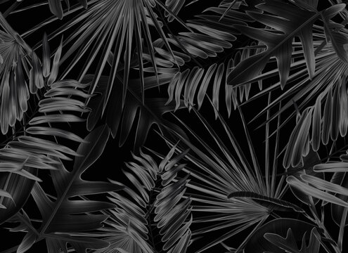 Seamless Leaves Pattern In Elegant Style. Palm leaves background. Tropical palm leaves, jungle leaves seamless floral pattern background