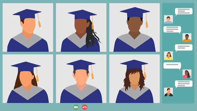 Online meeting graduates, virtual graduation. Screen laptop, video call and chat. Vector illustration
