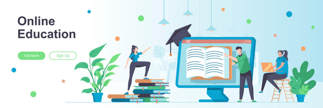 Online education landing page with people characters. Distance learning web banner. Online courses, educational webinars vector illustration. Flat concept great for social media promotional materials.