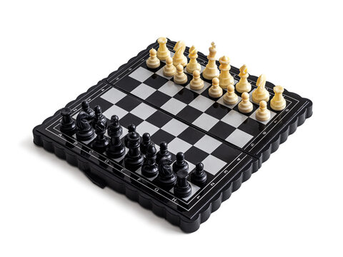 Mini chess folding magnetic board with plastic pieces