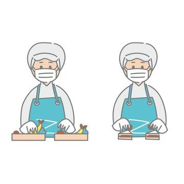 食品工場で働く作業員のライン作業