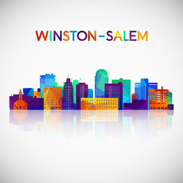 Winston–Salem skyline silhouette in colorful geometric style. Symbol for your design. Vector illustration.