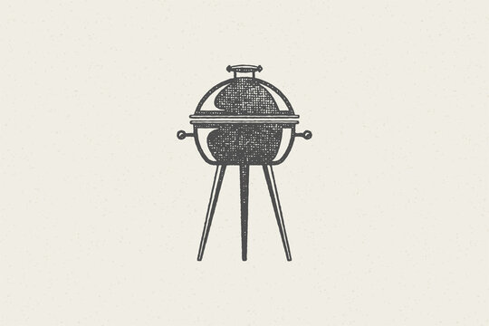 Black grill silhouette as symbol barbecue food preparation hand drawn stamp effect vector illustration.
