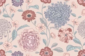 Obraz Floral summer pastel color background. Vector. Vintage. - fototapety do salonu