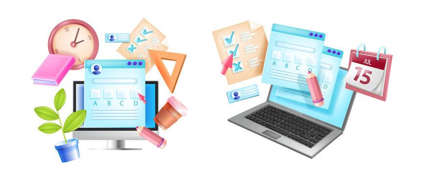 Online exam, internet testing e-learning concept, laptop screen, computer monitor, clock, calendar. Questionnaire, web quiz form, checklist 3D illustration. Online exam, digital application concept