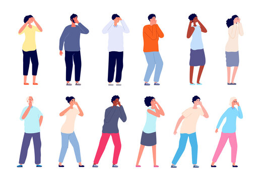 People screaming. Shouting persons, man woman covering mouth and ears. Adults call, thrilled shy or lost cartoon utter vector characters