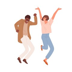 Happy people dancing and jumping, celebrating victory and success. Multiracial couple of colleagues having fun. Colored flat vector illustration of crazy office workers isolated on white background