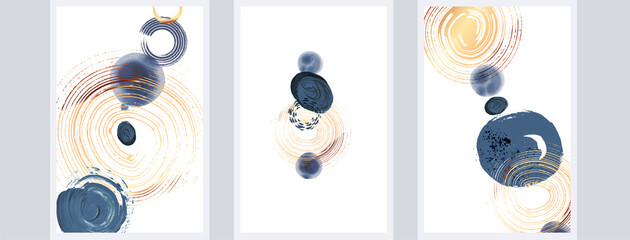 Obraz Abstact art design set. Hand painted minimalistic composition. Watercolor and inc paint stains in contemporary template. Cover, card, poster and banner modern design - fototapety do salonu