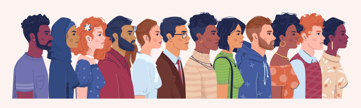 Profile portrait of men and women of different nationalities, religions and countries. Diversity of male and female character, crowd of people. Caucasian and arab, cartoon characters vector in flat