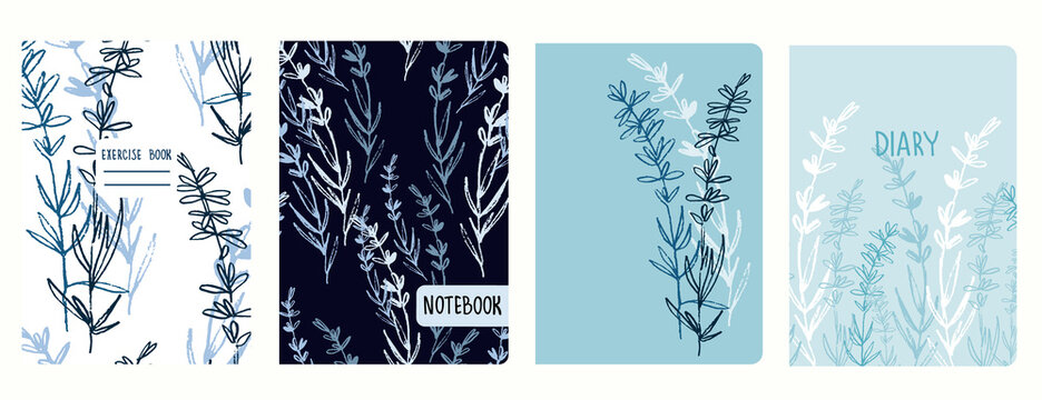 Cover page vector templates with lavender branches. Headers isolated and replaceable