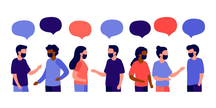 Meeting of group of people with face mask for talk, dialog, communication, partnership, business relationship. Man and woman talking. Negotiations, discussion of team workers. Vector flat illustration