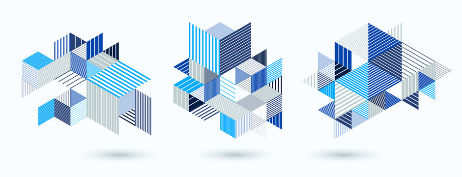 Line design 3D cubes and triangles abstract backgrounds set, polygonal low poly isometric retro style templates. Stripy graphic elements isolated. Templates for posters or banners, covers or ads.
