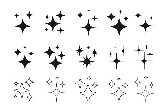 Set of Clean shining icons. Sparkle Sign. Flash symbol. Twinkle star shapes vector design.